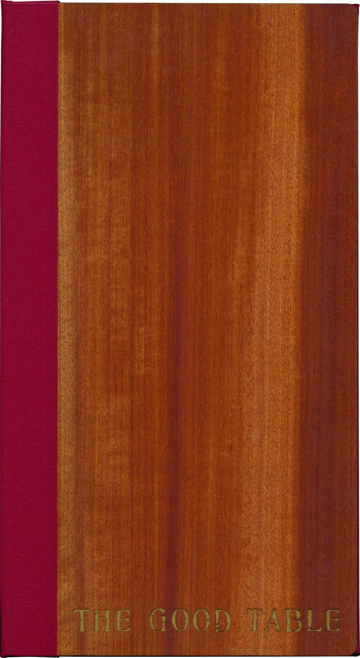 Wood Works | Vertical Pocket - Half Bound - A5L - Mahogany Timber - Ruby Red Buckram - Laser Ecthing