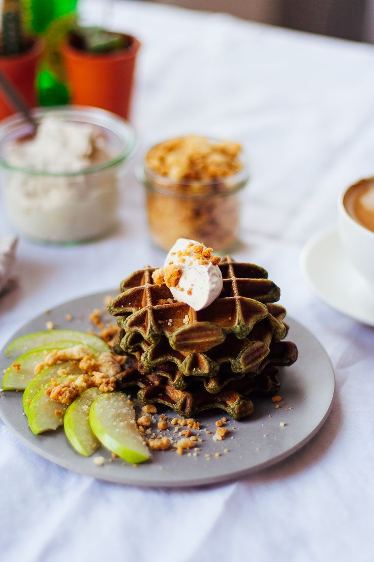 Hold-your-waffle-Wednesday 33 // Japanese matcha waffles with apple crumble & coffee whipped cream | Our Hangry Kitchen