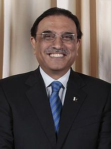Asif Ali Zardari, President of Pakistan. He is co-chairman of the ruling Pakistan Peoples Party (PPP) and the widower of Benazir Bhutto, who served two nonconsecutive terms as Prime Minister.