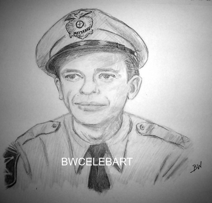 THE ANDY GRIFFITH SHOW GRAPHITE  ORIGINAL PENCIL DRAWING DEPUTY BARNEY FIFE  #Realism