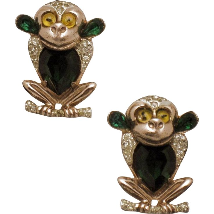 CORO Sterling Rose Gold Vintage 1945  Emerald Green Monkey Clips Pins