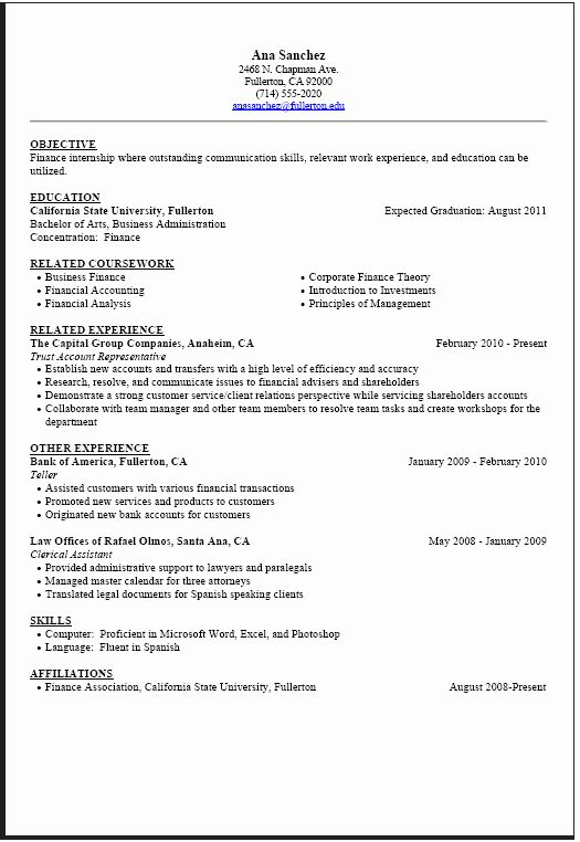 Computer Science Internship Resume Luxury Internship Resume Sample
