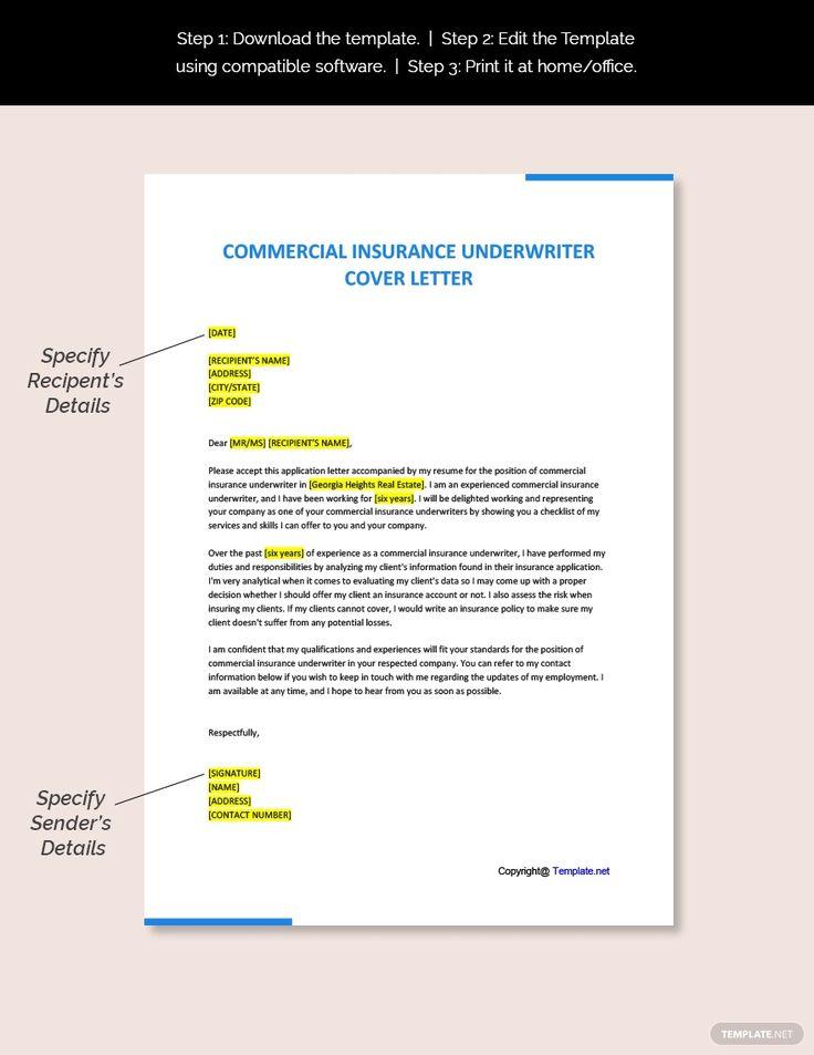 Free commercial insurance underwriter cover letter