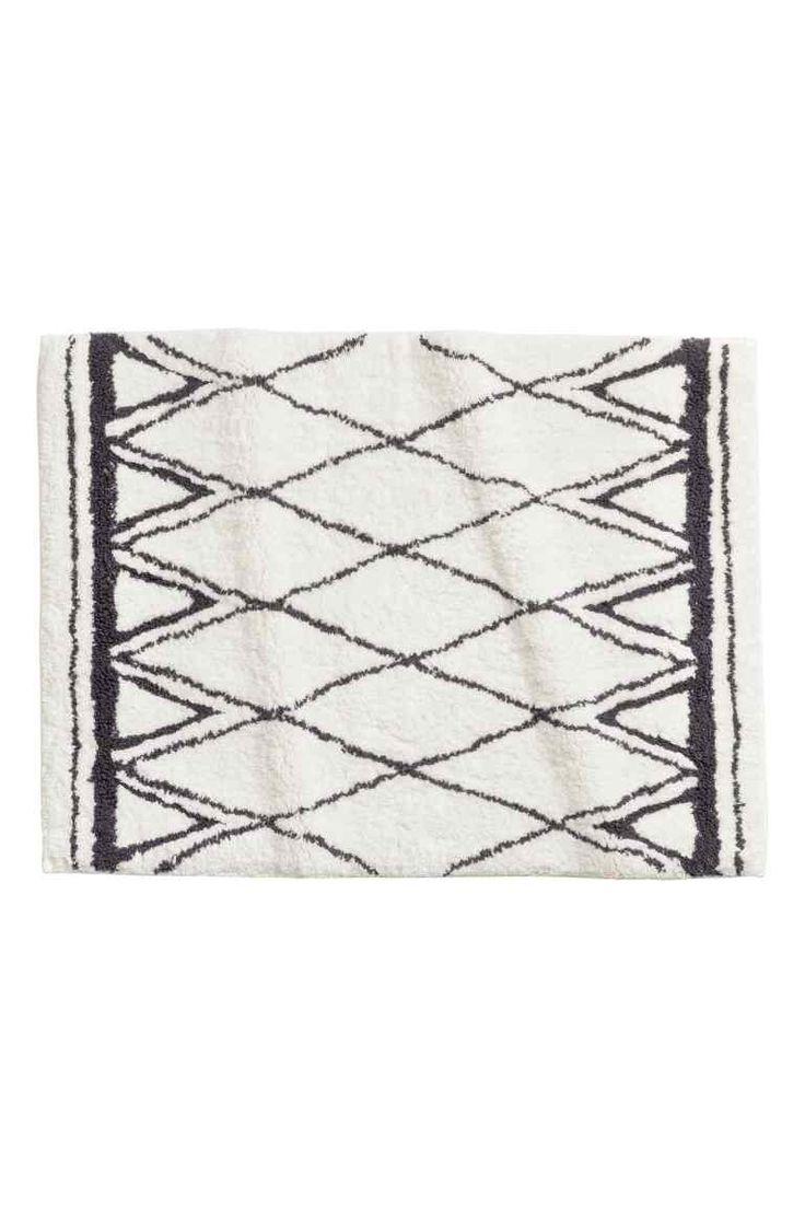 Jacquardgeweven badmat - Gebroken wit/dessin - HOME | H&M NL 1