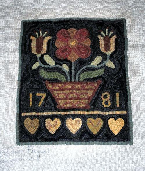 Love the black background and design!Floral Hooks, Black Backgrounds, Pennies Rugs, Rugs Hooks, Carroll Design, Wool Hooks, Hooks Rugs, Hooks Wool, Rugs Crafts