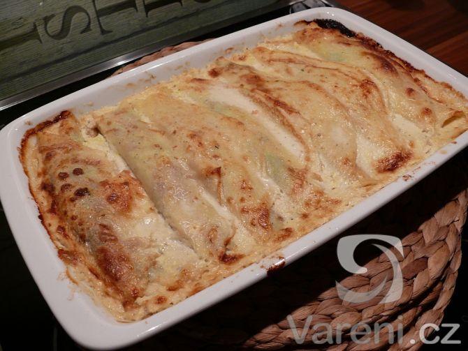 Recept Zapečené špenátové palačinky - Zapékané palačinky se špenátem a gorgonzolou.