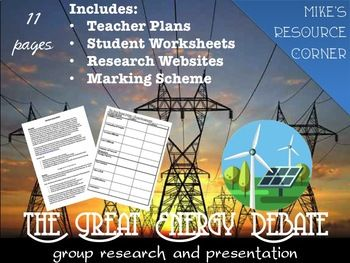 Culminate your Physics Energy Unit with this group research project and debate on the various types of energy production. Turn it into an Energy Convention so the students can present to the class in smaller groups as the students walk around to the different displays.