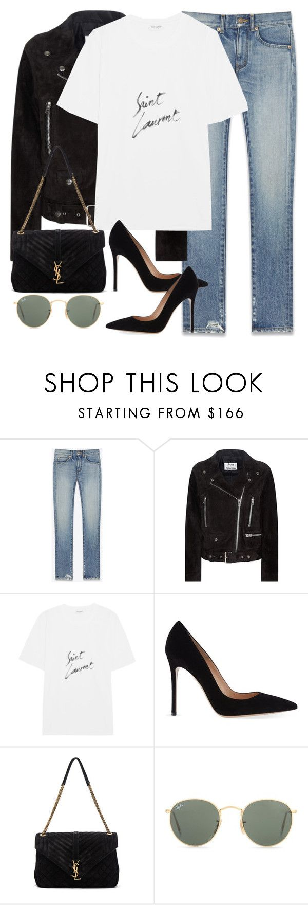 """""""Untitled #3168"""" by elenaday ❤ liked on Polyvore featuring Yves Saint Laurent, Acne Studios, Gianvito Rossi and Ray-Ban"""