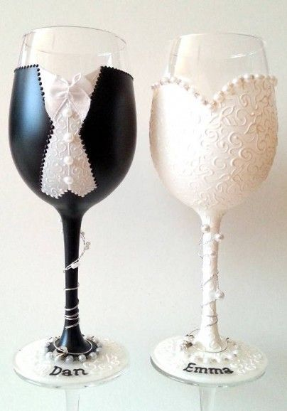 Bride and Groom goblets in a dress and tux