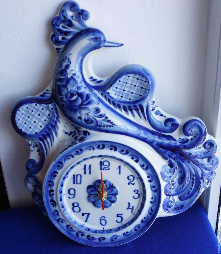 """Синие кружева (siniekruzheva) Часы """"Птица Дивная"""", гжельский фарфор"""