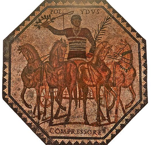 mosaic of charioteer THE CIRCUS: ROMAN CHARIOT RACING