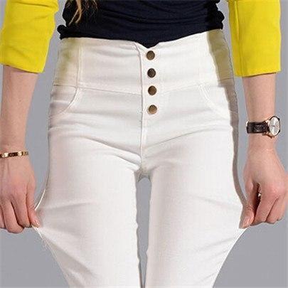 Visnxgi Button Leggings Skinny Leggins Women Pencil Trousers Plus Size High Waist Legging Slim Ladies Pantalones Clothes K131 Wh
