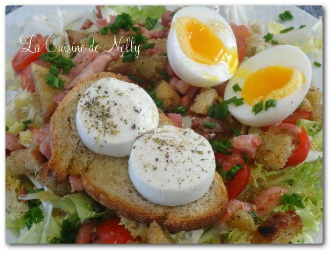Salade Frisée Chèvre Chaud Lardons Oeufs mollets