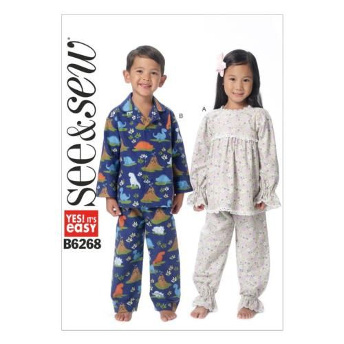 BUTTERICK SEW & SEW SEWING PATTERN TODDLERS  / CHILDREN PYJAMAS SIZE 1-6 B6268 | eBay