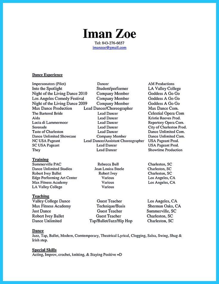 Más de 25 ideas increíbles sobre Dance resume en Pinterest - how to write an impressive resume