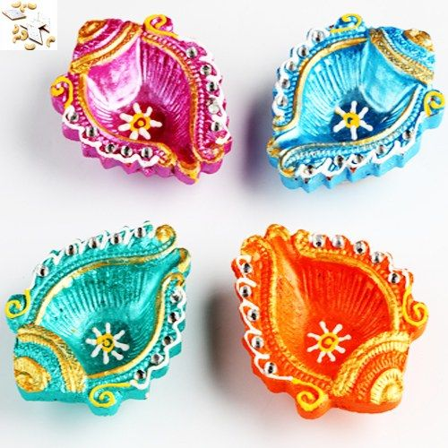 Colourful Shankh Diyas  with 500 gms kaju Katli - Online Shopping for Diyas and Lights by Ghasitaram Gifts