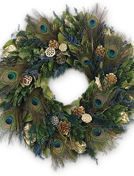 Peacock wreath for fall decor, or just because