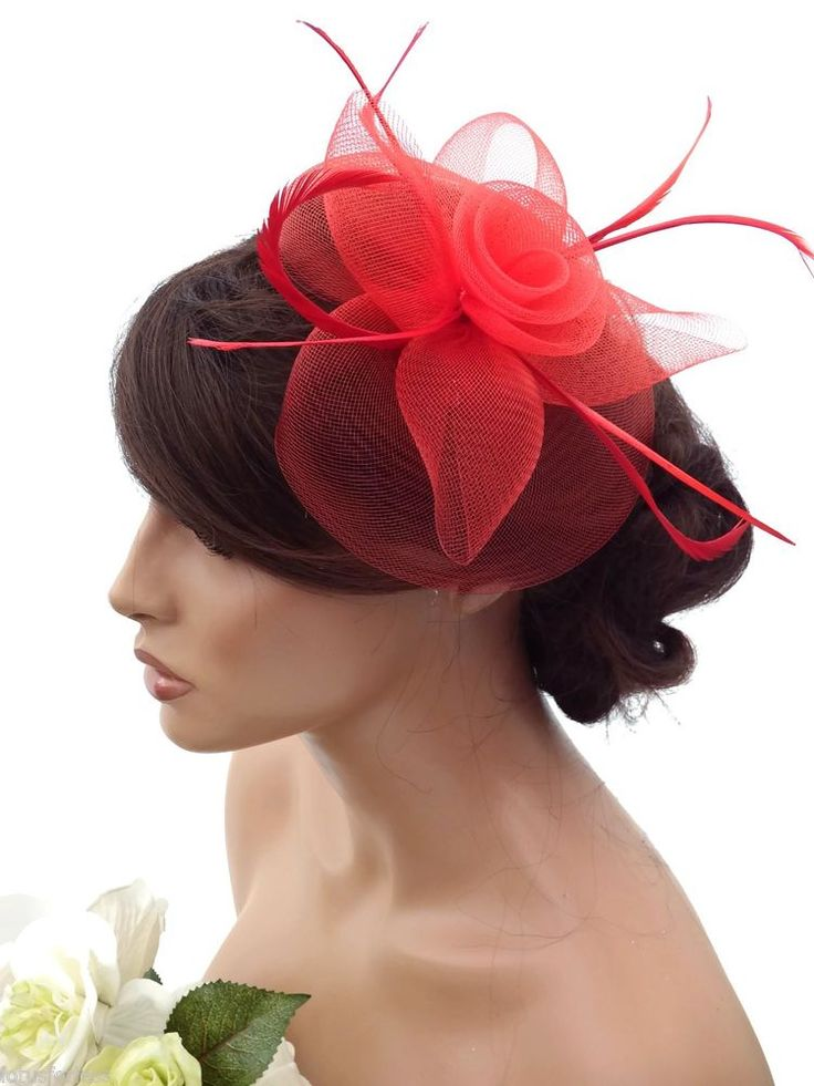 Elegant Red Large Flower Mesh Net Hair Clip Grip Fascinator Feathers Races