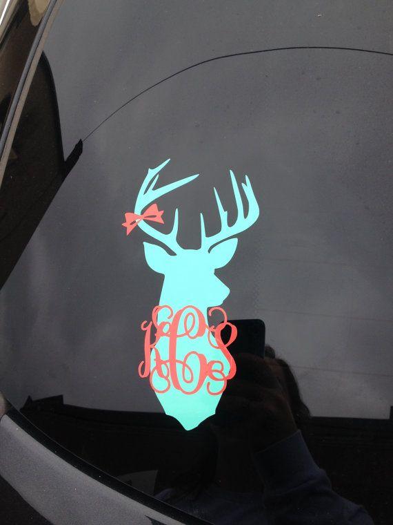 Deer Head Monogram Decal Car Decal by embellishboutiquellc