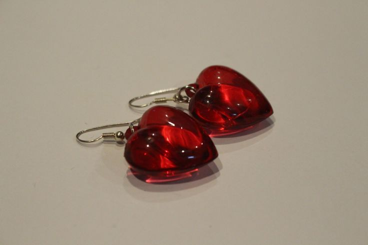 red heart earrings by 1OfakindHomemade on Etsy
