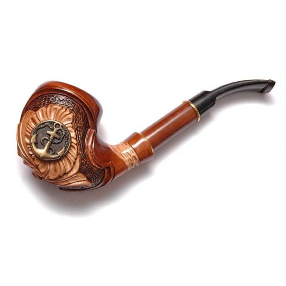 Hand Carved Tobacco Pipe Smoking Pipe/Pipes 7 inches. Wood/Wooden Carving Handmade. Exclusive Design. Anchor & FREE GIFT ($35.99) - Svpply