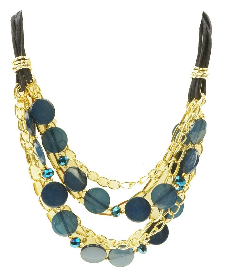 Necklace with black Thonging finished with gold colouring and blue disc.