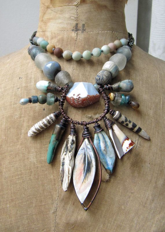 the blue cloud and the wordless wind rustic blue grey necklace w artisan ceramics and amazonite primitive grungy earthy tribal necklace