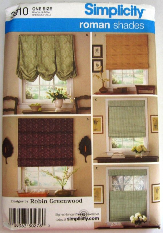 Roman Shades 5 Styles Window Treatments Simplicity Pattern 3910