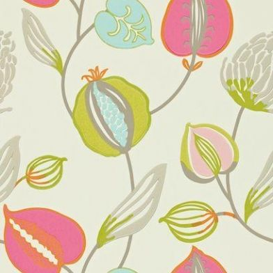 Tembok (110306) - Harlequin Wallpapers - An oversized and enticing floral trail. Showing in vibrant shades of pink, green and blue on a metallic pearl background - other colour ways available. Please request a sample for true colour match. Paste-the-wall product.