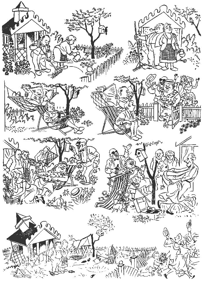Country House. Vintage cartoons by the Danish artist Herluf Bidstrup.