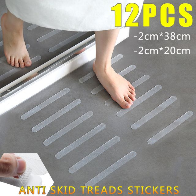 12pcs Bathroom Tub Shower Anti Slip Stair Tread Clear Tape