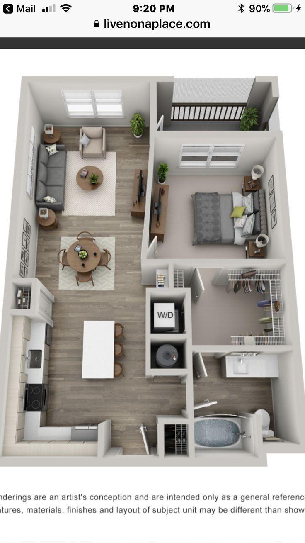 1 Bedroom Apartment Interior Design Luxury 1 Bedroom In 2020 Sims House Plans House Plans Apartment Layout