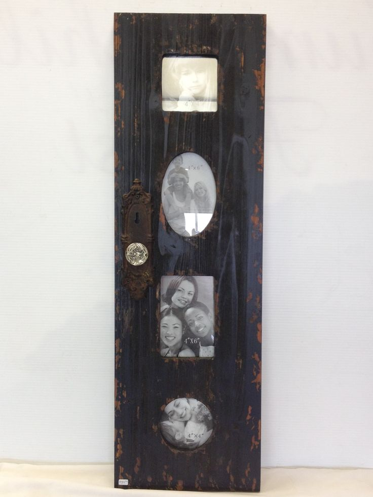 """Unique photo frame! Fits 3 photos, and the overall size is 32"""" high by 10"""" wide. Lovely vintage knob and keyhole add to the charm of this piece"""