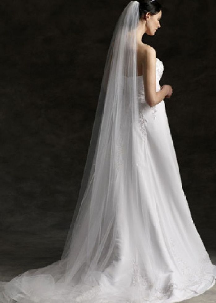White Off 3m 1 Tier Wedding Bridal Soft Tulle Cathedral Veil With Comb EU