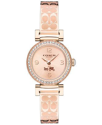 COACH WOMEN'S SIGNATURE ETCHED ROSE GOLD-PLATED BANGLE BRACELET WATCH 24MM 14502203 - COACH - Jewelry & Watches - Macy's