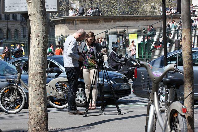 Filming in Paris