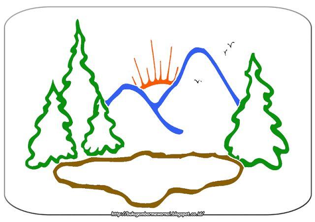 Gambar Mewarnai - Mewarnai Gambar Pemandangan Sederhana Untuk Anak.   Gambar di atas adalah gamb...