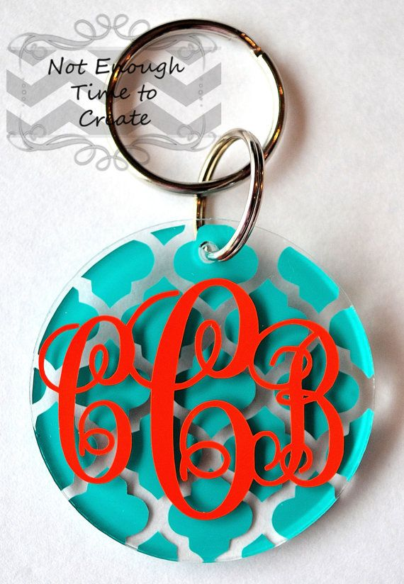 Monogram Keychain by NotEnoughTime2Create on Etsy