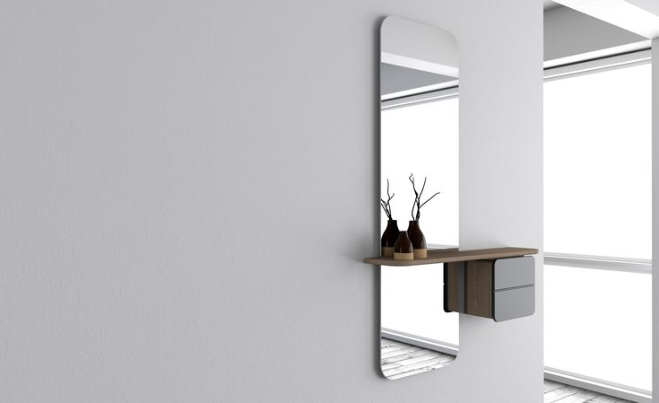 One More Look is a light and airy mirror with a minimalistic Scandinavian feel and a number of added functions to meet the everyday needs of urban living. Designed to be hung on the wall, the elegant full length mirror is crossed by a thin delicate shelf which has a small cabinet attached to it.