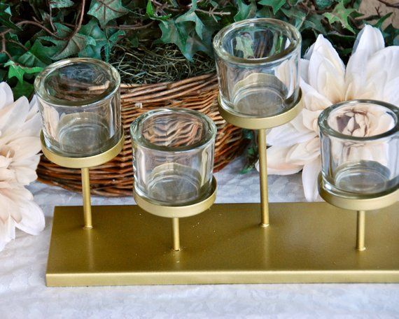Painted gold long iron staggered votive candle holder holiday centerpiece decor