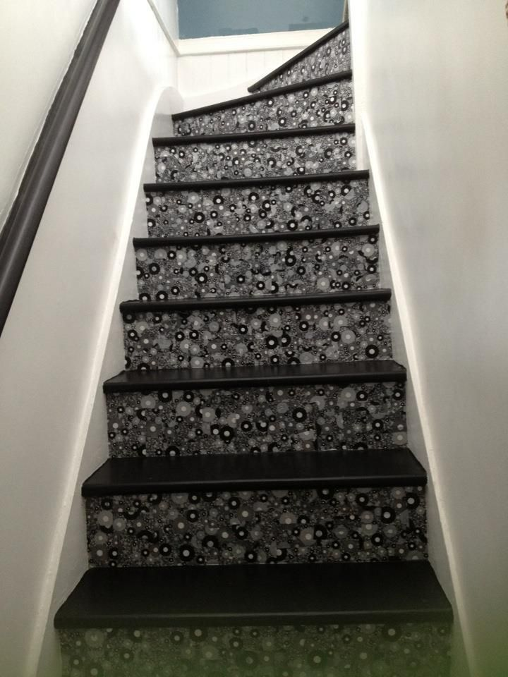 Home decor DIY project.  Decoupage and painted hall stairs.
