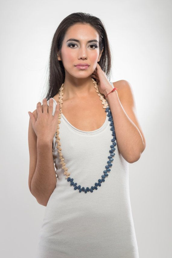 Long bean wooden necklace natural and blue light and by LauraRosa