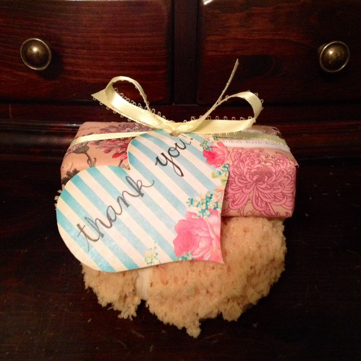 Hostess gift idea for any type of shower: Fancy soap + sea sponge bundled together with a ribbon! #weddings #showers #hostess #gift #ideas