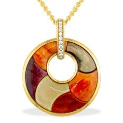 Yellow Gold Kabana Circle Pendant with Mother of Pearl, Spiny Oyster Inlay and Diamonds (Chain Included) - Spiny Oyster Inlay - Kabana Jewelry - Designer Collections - Shop
