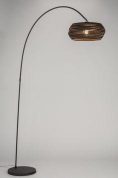 Vloerlamp 10685: Modern, Antraciet Donkergrijs, Bruin, Metaal
