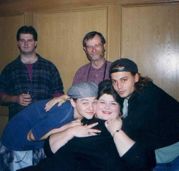 "Leonardo DiCaprio, Darlene Cates and Johnny Depp on the set of ""What's Eating Gilbert Grape"""