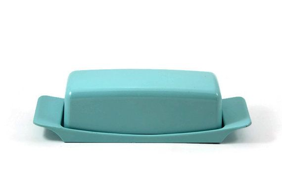 Turquoise Aqua Blue Melmac Melamine Covered Butter Dish, Watertown Lifetime Ware, Watertown Ware Midcentury