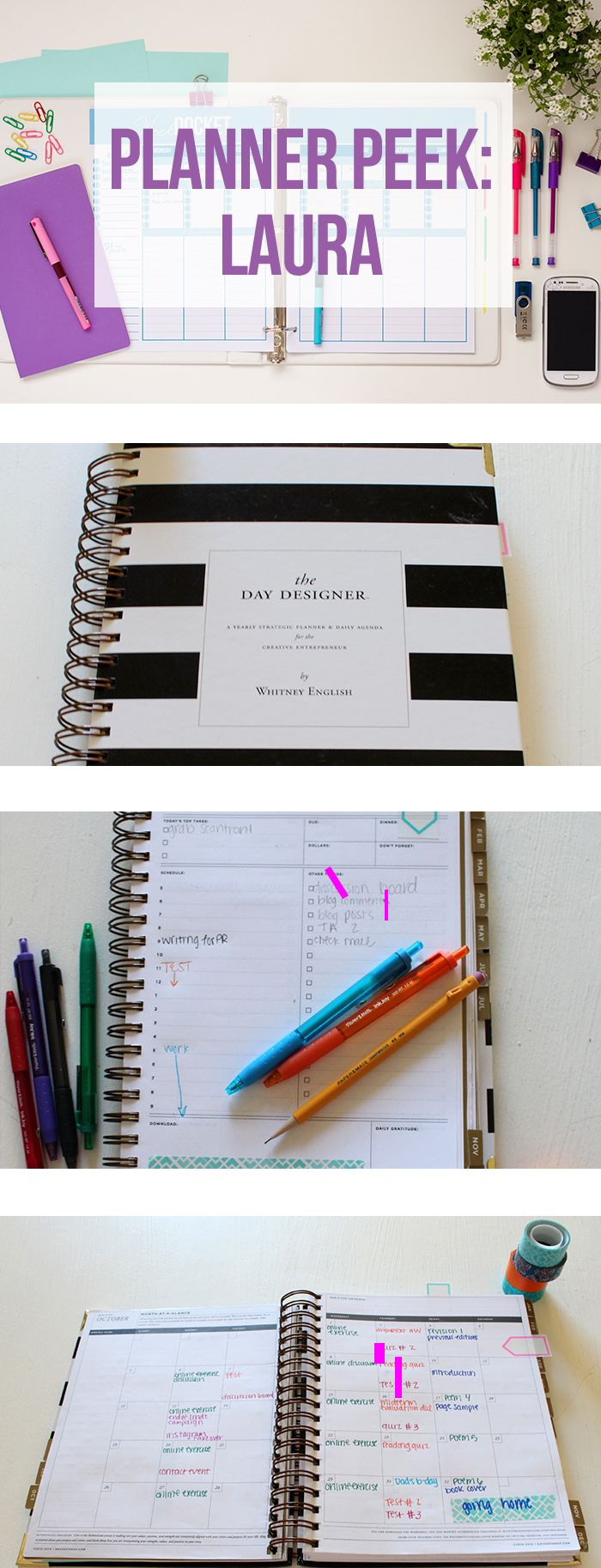 Take a tour of Laura's Day Designer Planner. She uses the planner to keep to track of her busy life as a full time student and a blogger. She loves the daily planning view which really allows her to keep track of everything on her plate.