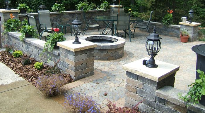 walled in patio landscape