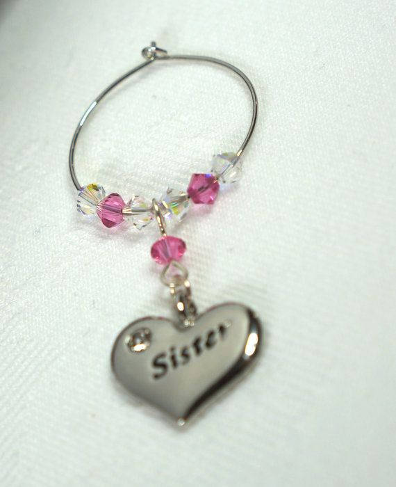 Wine Charm Wine Glass Charm Sister Swarovski by Makewithlovecrafts, £5.50